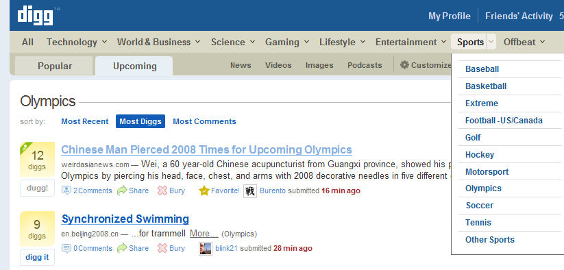 digg olympics Digg Cleans Up Navigation, Candidates, and Adds Olympics picture