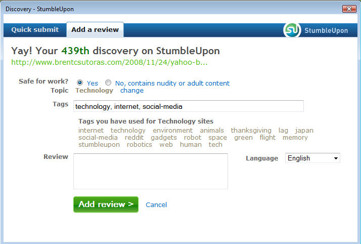 stumble05 StumbleUpon Makes Discovery Easy picture