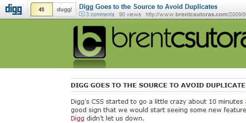 diggbar views Digg Goes to the Source to Avoid Duplicates picture