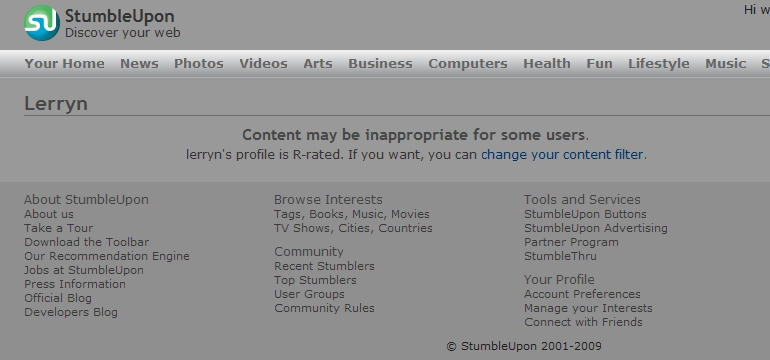 r profile StumbleUpon Users... Be Careful What You Stumble picture